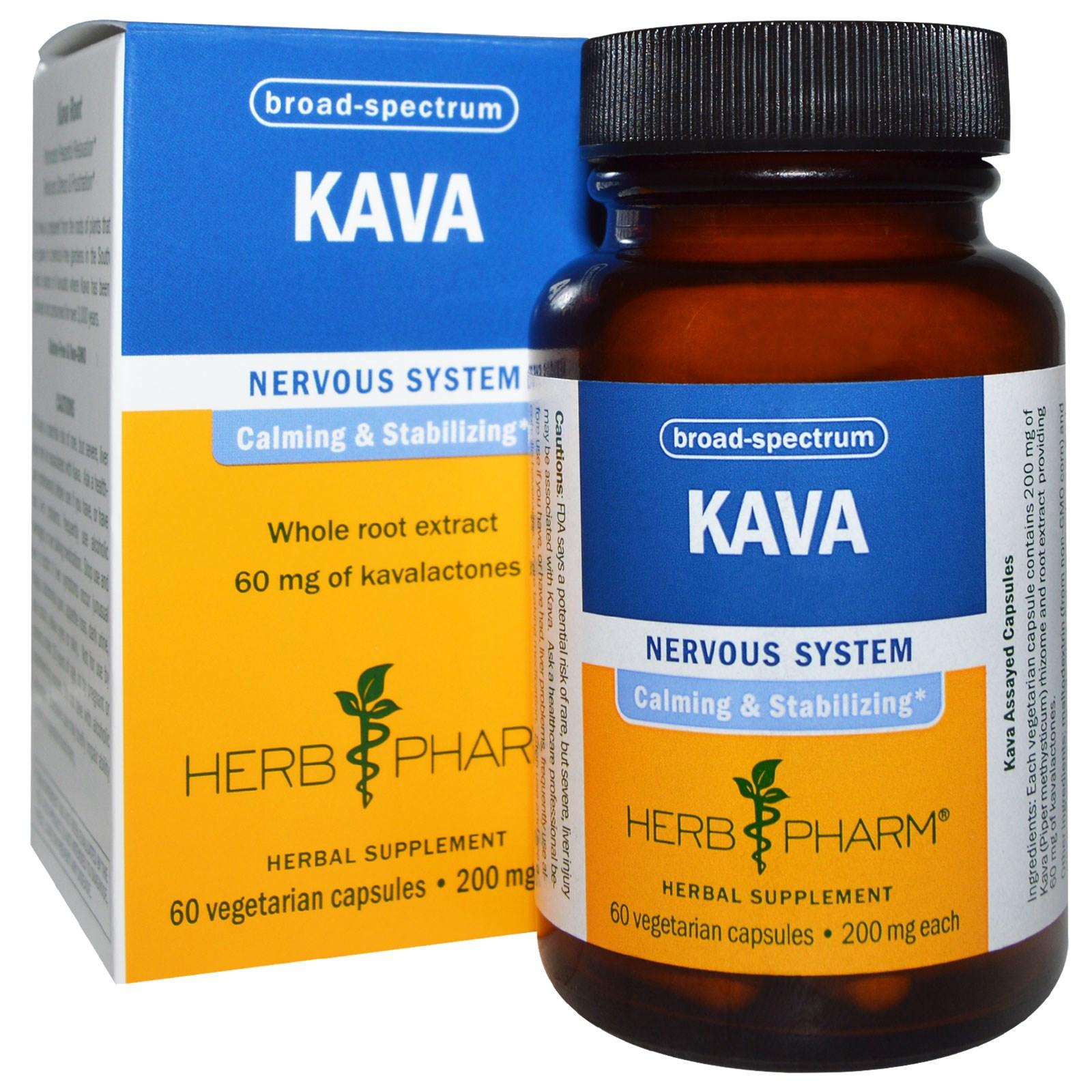 Herb Pharm, Кава (перец опьяняющий), 200 мг, 60 вегетарианских капсул