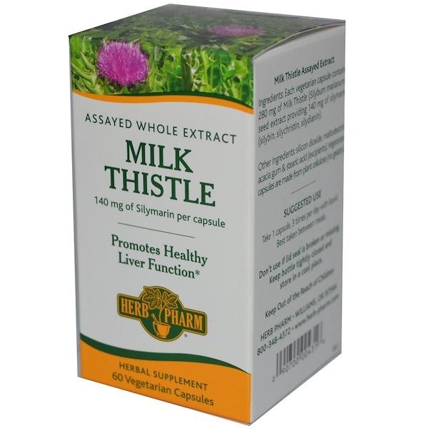 Herb Pharm, Milk Thistle, 140 mg, 60 Veggie Caps  (Discontinued Item)