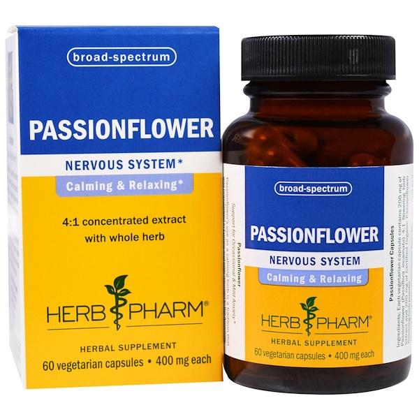 Herb Pharm, Passionflower, 400 mg , 60 Veggie Caps (Discontinued Item)