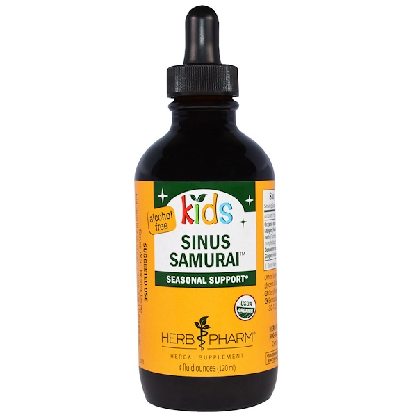 Herb Pharm, Kid's Sinus Samurai, Alcohol Free, 4 fl oz (120 ml) (Discontinued Item)