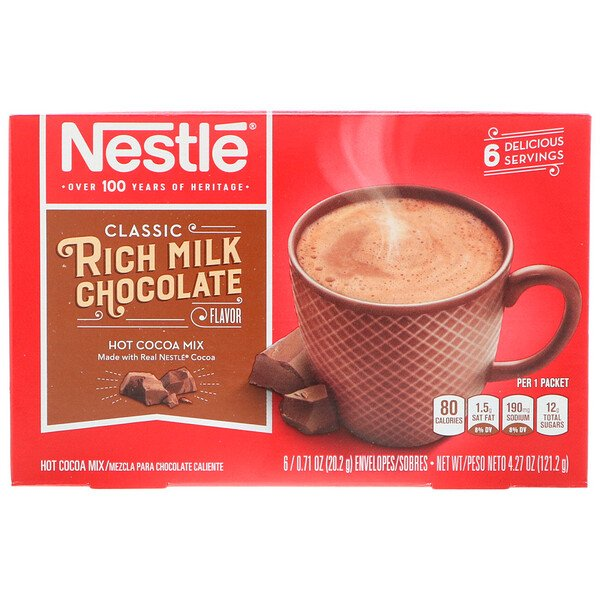 Rich Milk Chocolate Flavor, 6 Packets, 0.71 oz (20.2 g) Each