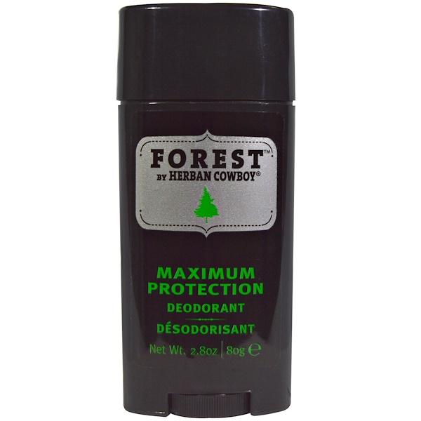 Herban Cowboy, 森林,最大防護除臭劑,2、8盎司(80克)