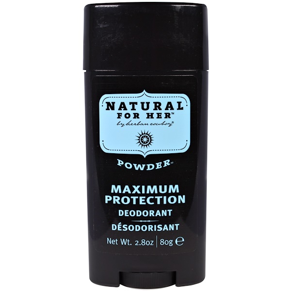 Herban Cowboy, Natural for Her, Maximum Protection Deodorant, Powder, 2.8 oz (80 g) (Discontinued Item)