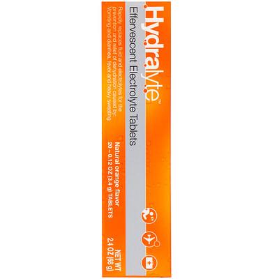 Купить Hydralyte Шипучий электролит, натуральный апельсиновый вкус, 20таблеток, 68 г (2, 4жидк.унции)