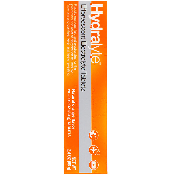Effervescent Electrolyte, Natural Orange Flavor, 20 Tablets, 2.4 oz (68 g)