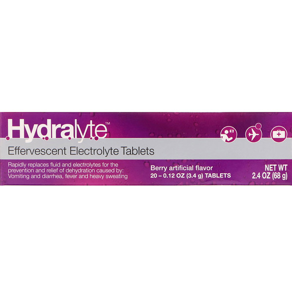 Hydralyte, Effervescent Electrolyte, Berry Artificial Flavor, 20 Tablets, 2.4 oz (68 g)
