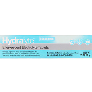 Hydralyte, Effervescent Electrolyte, Color Free, Lemonade Flavor, 20 Tablets, 2.5 oz (70 g)