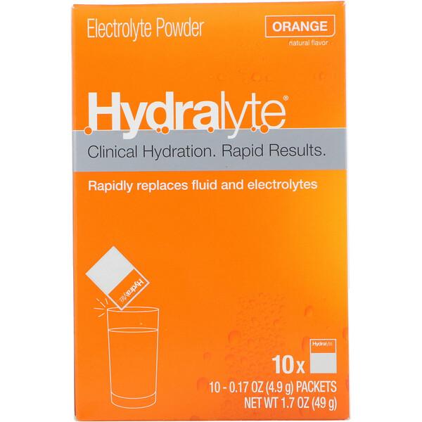 Hydralyte, Clinical Hydration, Electrolyte Powder, Orange, 10 packets 0.17 oz (4.9 g) Each (Discontinued Item)