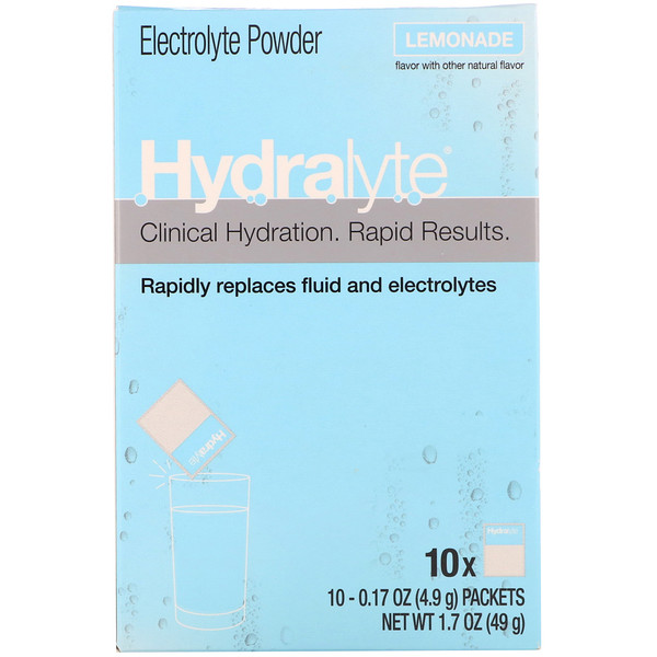 Hydralyte, Clinical Hydration, Electrolyte Powder, Lemonade, 10 packets 0.17 oz (4.9 g) Each (Discontinued Item)