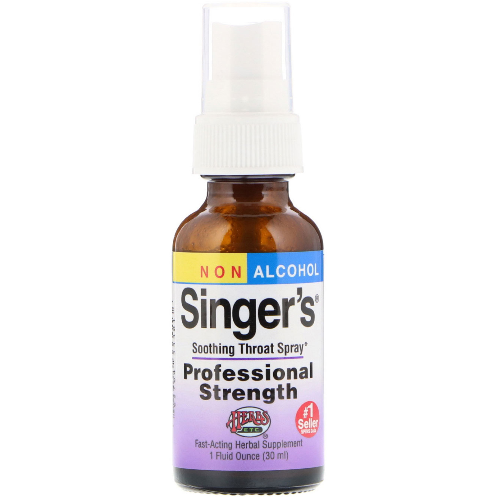 Herbs Etc , Singer's, Soothing Throat Spray, Non Alcohol, 1