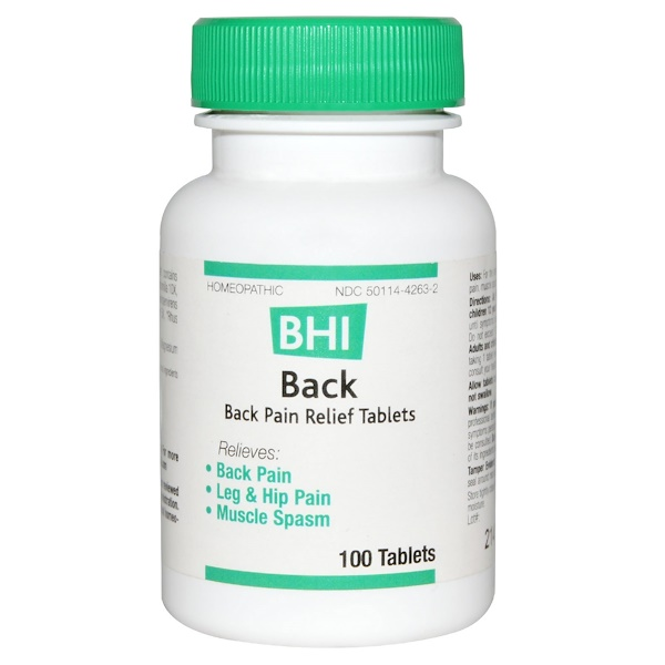 MediNatura, BHI, Back, Pain Relief, 100 Tablets