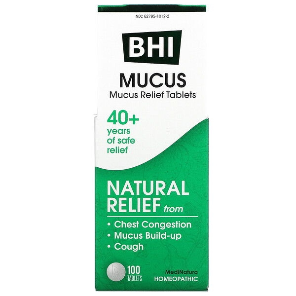 MediNatura, BHI, Mucus Relief, 100 Tablets