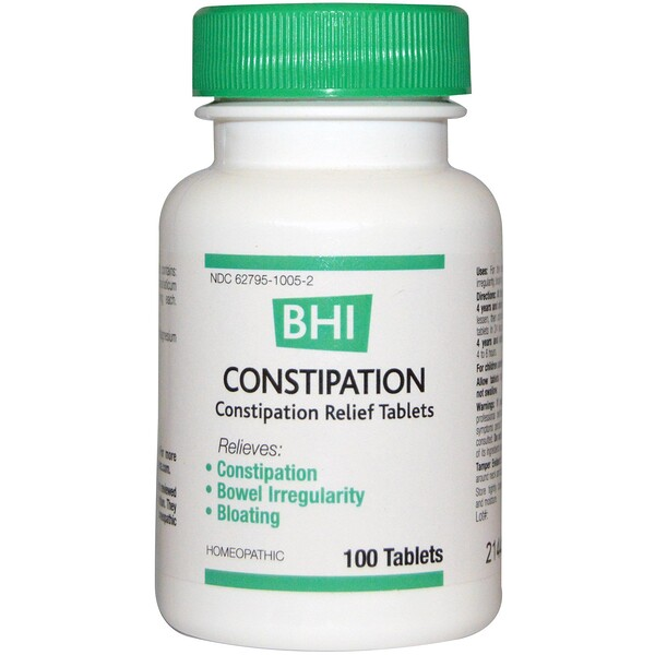 MediNatura, BHI, Constipation, 100 Tablets