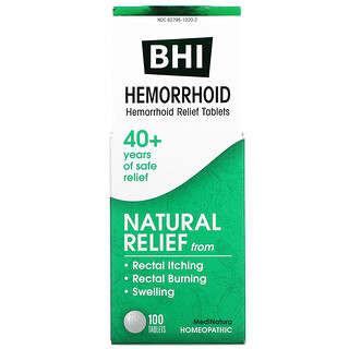MediNatura, BHI, Hemorrhoid Relief, 100 Tablets