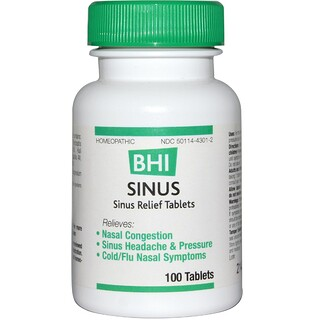 MediNatura, BHI, Sinus, 100 Tablets