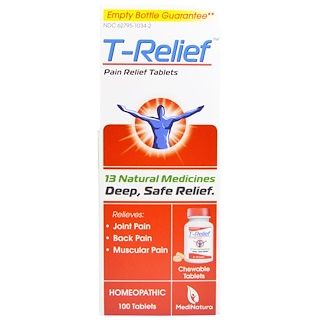 MediNatura, T- Relief, Pain Relief Tablets, 100 Chewable Tablets