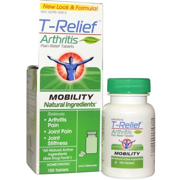 MediNatura, T-Relief, обезболивающие таблетки при артрите, 100 таблеток