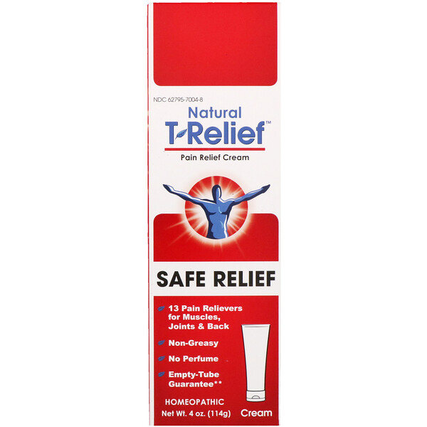 MediNatura, Natural T-Relief, Pain Relief Cream, Safe Relief, 4 oz (114 g)