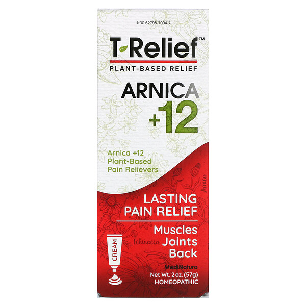 T-Relief, Arnica +12, Plant-Based Relief Cream, 2 oz (57 g)