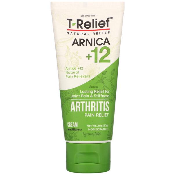 MediNatura, T-Relief™ 山金车 +12 天然疼痛舒缓软膏,2 盎司(57 克)