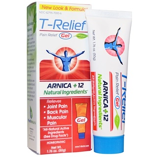 MediNatura, T-Relief、ペイン・リリーフ・ジェル、1.76 oz (50 g)