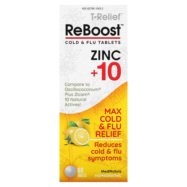 MediNatura, T-Relief, ReBoost, Zinc +10, Cold & Flu Tablets, 60 Tablets