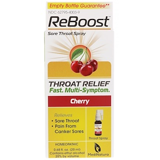 MediNatura, ReBoost, Sore Throat Spray, Cherry, 0.68 fl oz (20 ml)