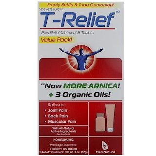 MediNatura, T-Relief, Pain Relief Ointment & Tablets, 2 Pieces