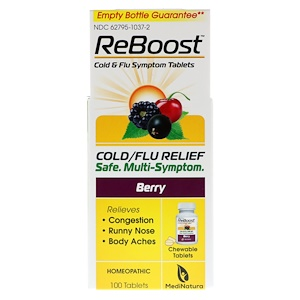 Мединатура, ReBoost, Cold/Flu Relief, Berry, 100 Chewable Tablets отзывы