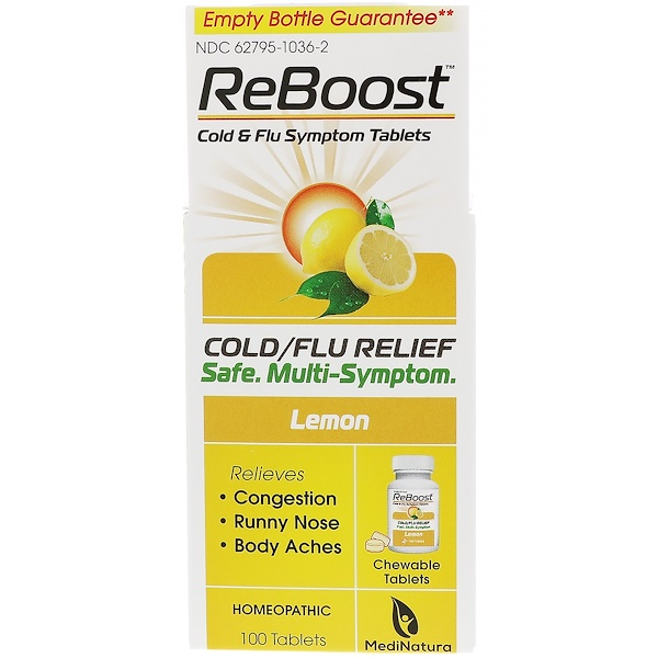 MediNatura, ReBoost, Cold & Flu Relief, Lemon, 100 Chewable Tablets (Discontinued Item)