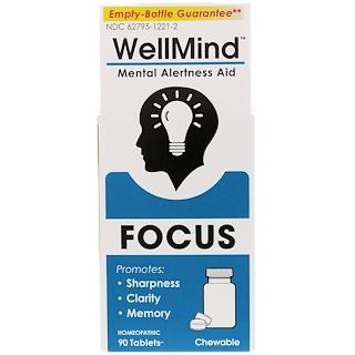MediNatura, WellMind Focus, Mental Alertness Aid, 90 Tablets
