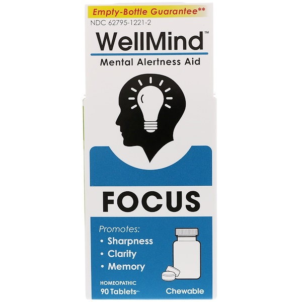 MediNatura, WellMind Focus, Mental Alertness Aid, 90 Tablets