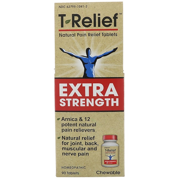MediNatura, T-Relief, Extra Strength, Homeopathic, Natural Pain Relief Tablets, 90 Chewable Tablets