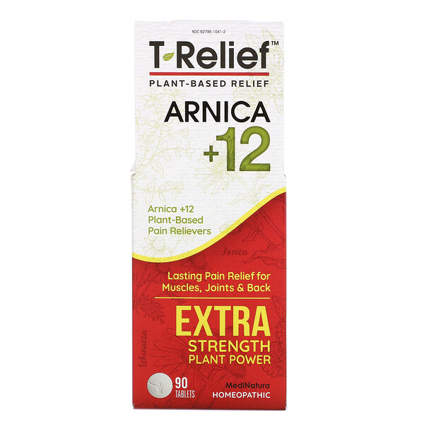 T-Relief, Potencia Extra, Homeopático, Tabletas analgésicas naturales, 90 Tabletas masticables
