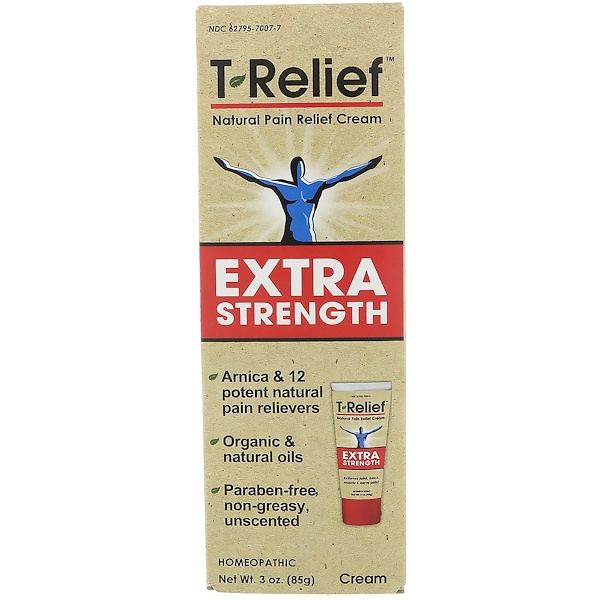 T-Relief, Extra Strength Natural Pain Relief Cream, 3 oz (85 g)