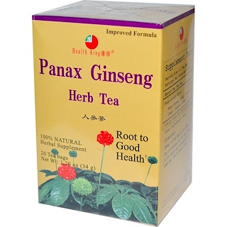 Health King, Panax Ginseng Herb Tea, 20 Tea Bags, 1.20 oz (34 g)