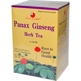 Health King, Травяной женьшеневый чай, 20 пакетиков, 34 г