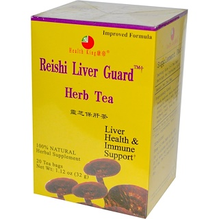 Health King, Herb Tea, Reishi Liver Guard, 20 Tea Bags, 1.12 oz (32 g)