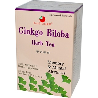 Health King, Ginkgo Biloba Herb Tea, 20 Tea Bags, 1.12 oz (32 g)
