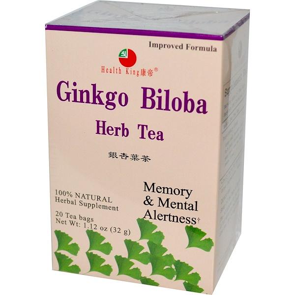 Health King, Травяной чай с экстрактом листьев гинкго билоба, 20 пакетиков, 32 г (1,12 унции)