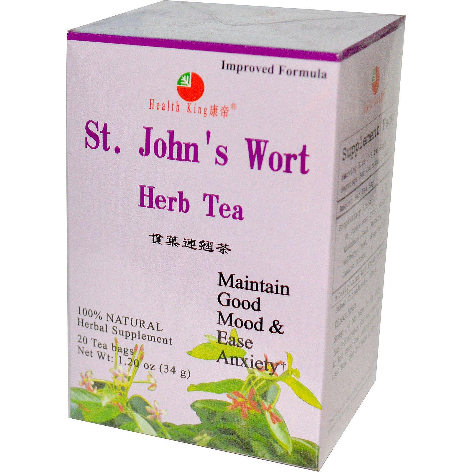 Health King, Травяной чай из корня зверобоя, 20 пакетиков, 34 г