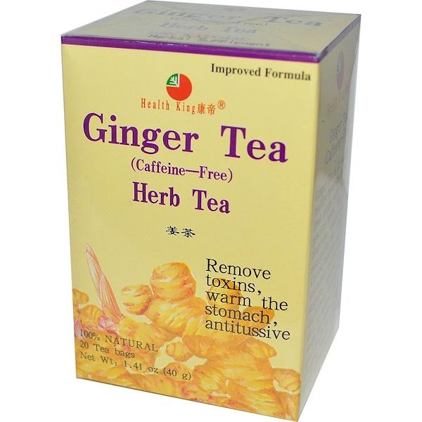 Health King, Herb Tea, Ginger, Caffeine Free, 20 Tea Bags, 1.41 oz (40 g) (Discontinued Item)