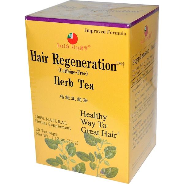 Health King, 草本茶,頭髮再生,不含咖啡因,20個茶包,1、12盎司(32克)