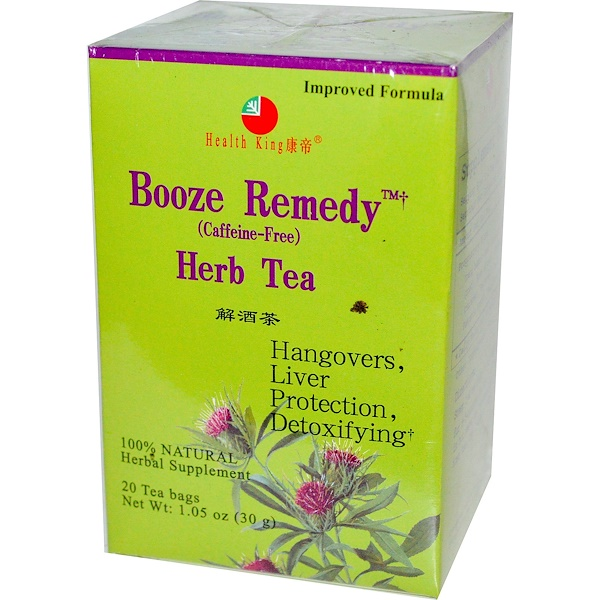 Health King, Booze Remedy Herb Tea, Caffeine-Free, 20 Bags, 1.05 oz (30 g) (Discontinued Item)