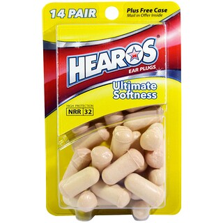 Hearos, Ear Plugs, Ultimate Softness, 14 Pairs