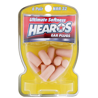 Hearos, Ear Plugs, Ultimate Softness, High, NRR 32, 6 Pair