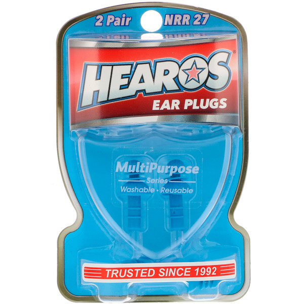 Hearos, Ear Plugs, Multi-Purpose Series, 2 Pair + Free Case (Discontinued Item)
