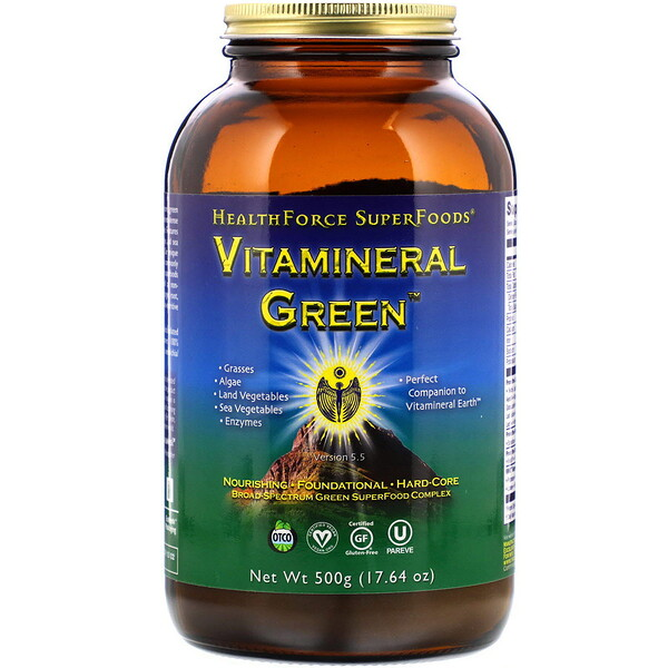 HealthForce Superfoods, Vitamineral Green, Version 5.5, 17.64 oz (500 g)