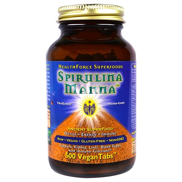 HealthForce Superfoods, Spirulina Manna, 500 VeganTabs