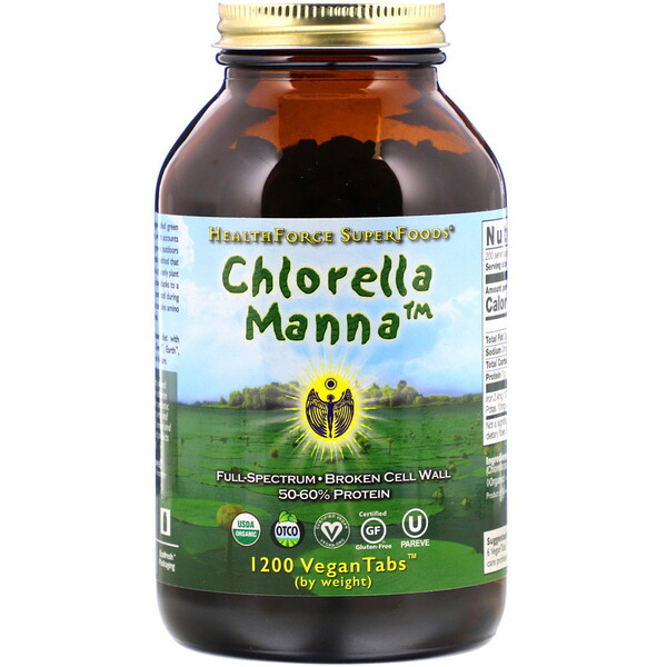 HealthForce Superfoods, Chlorella Manna, 1200 VeganTabs